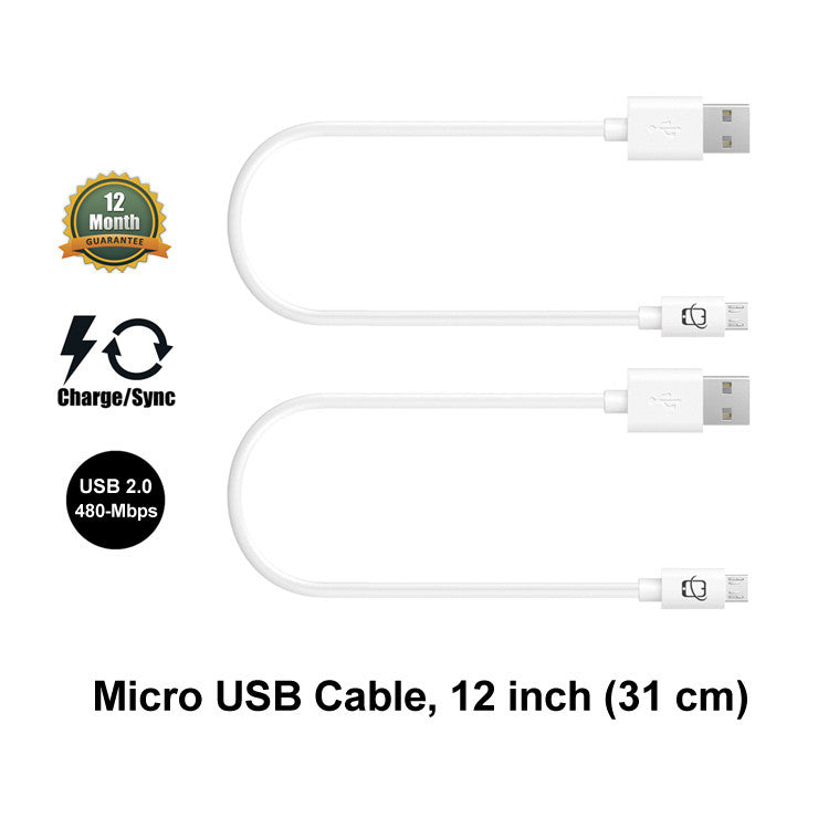 2-Pack Premium Short Micro USB Cables High Speed (12 inch