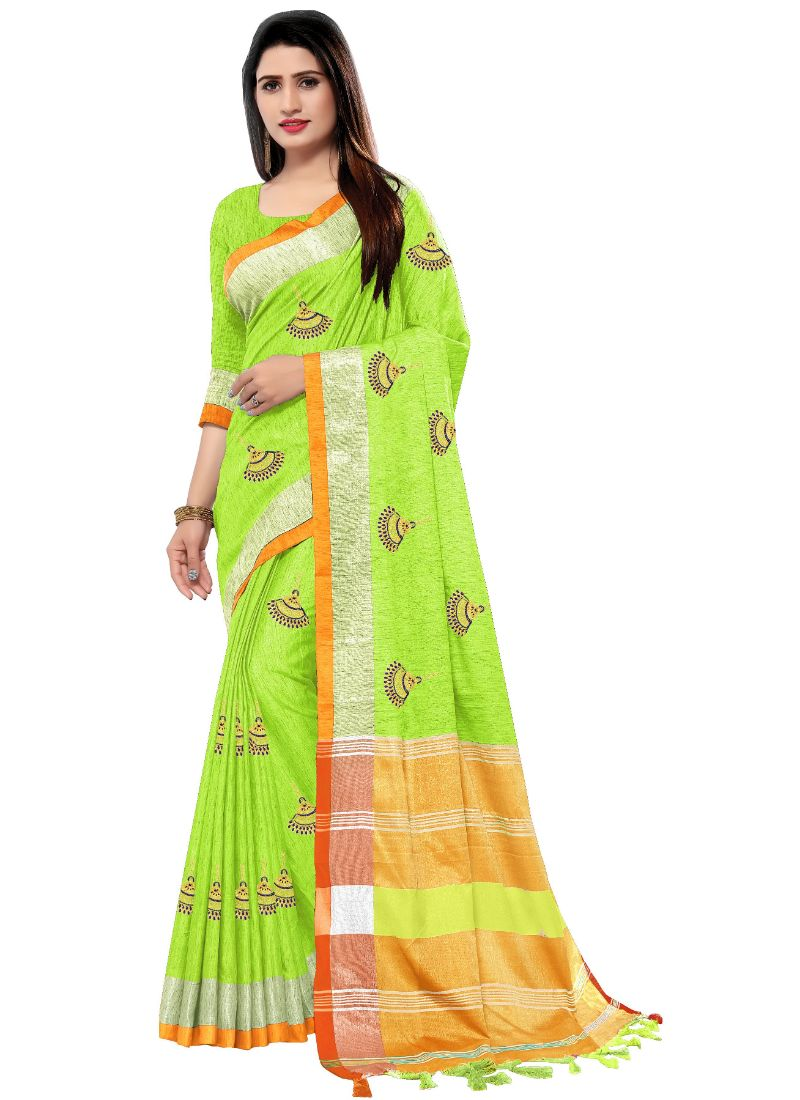 Generic Women's Blended Cotton Linen  Saree