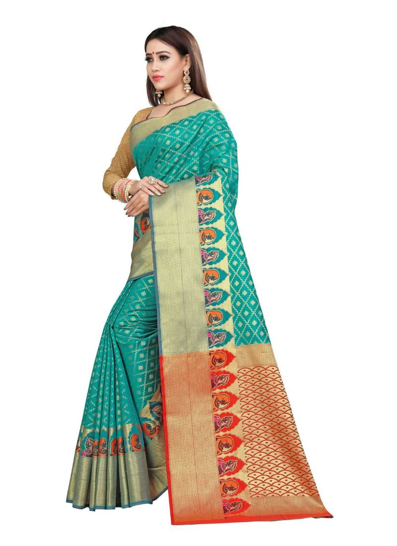 Generic Women's Kanjivaram Silk Saree with Blouse