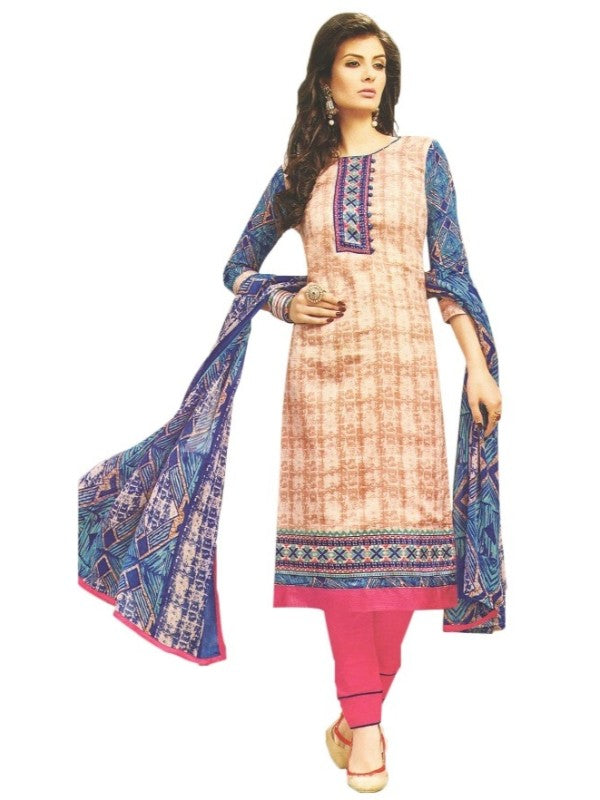 Embroidered Cotton Satin Unstitched Dress Material