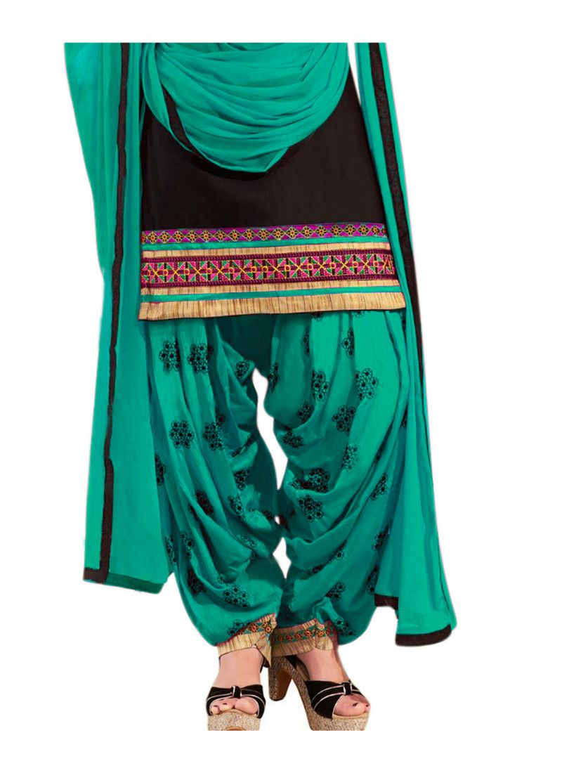 Generic Women's Cotton Salwar Material (Black,