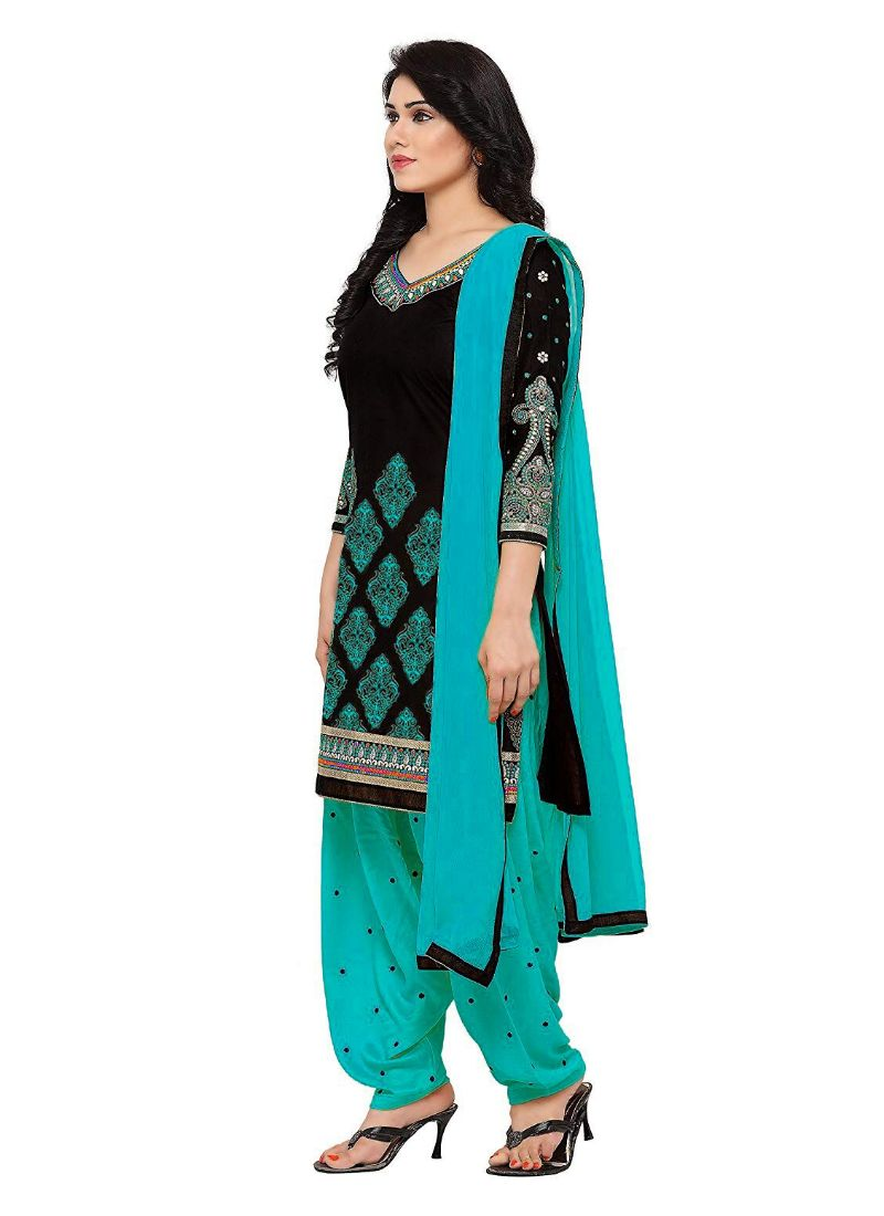 Generic Women's Cotton Salwar Material (Blue and