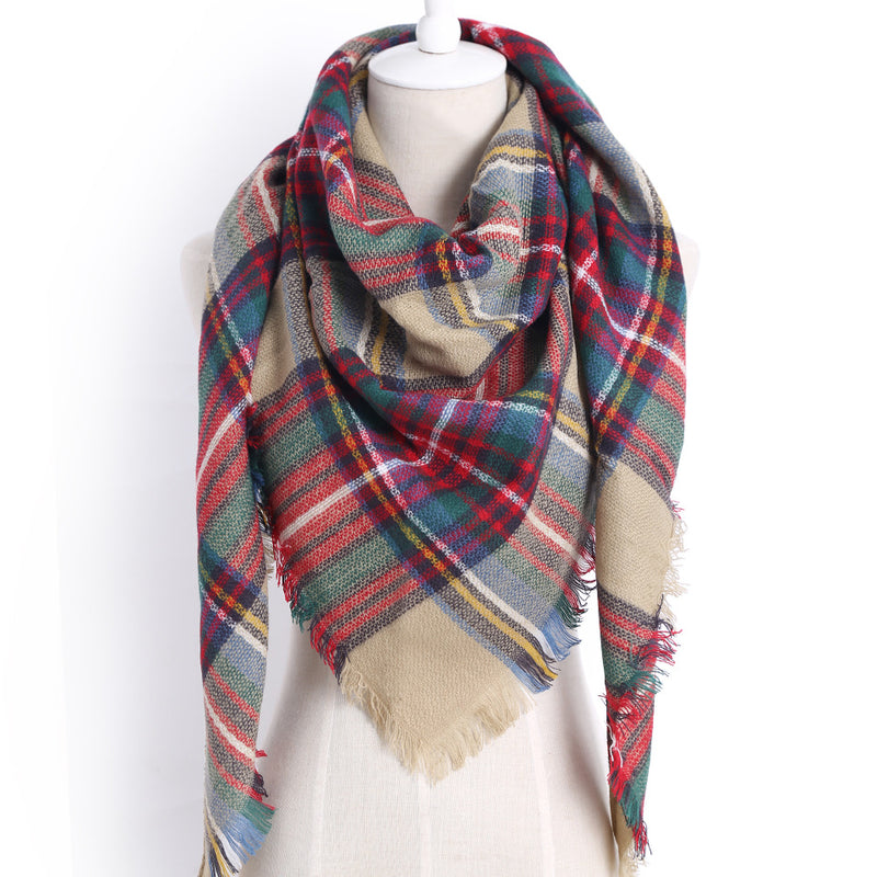 Winter Women Scarf Plaid Warm Cashmere