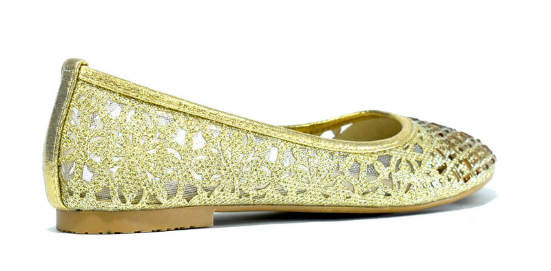 Aman Flower Gem Slip On FlatsGold
