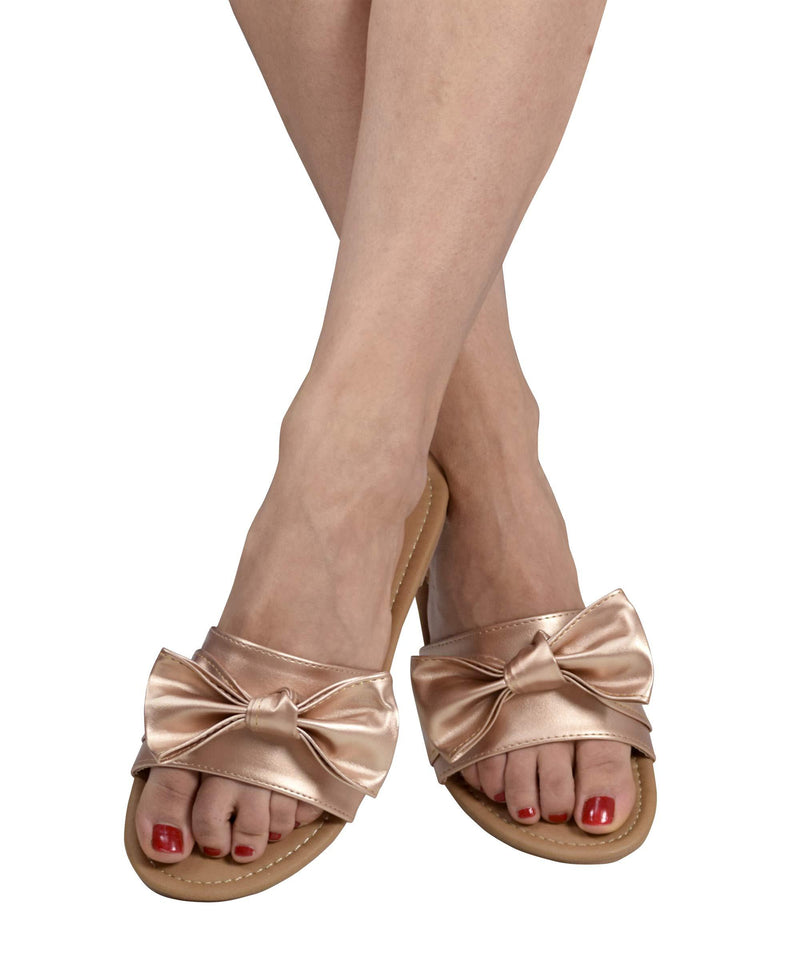 Women Teens Girls Single Band Bow Tie Bowknot Slip-On Open Toe Flat
