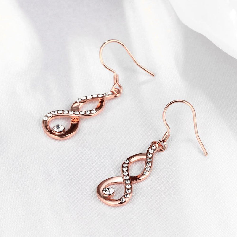 Infinity Drop in 18K Rose Gold Plated with Swarovski Crystals