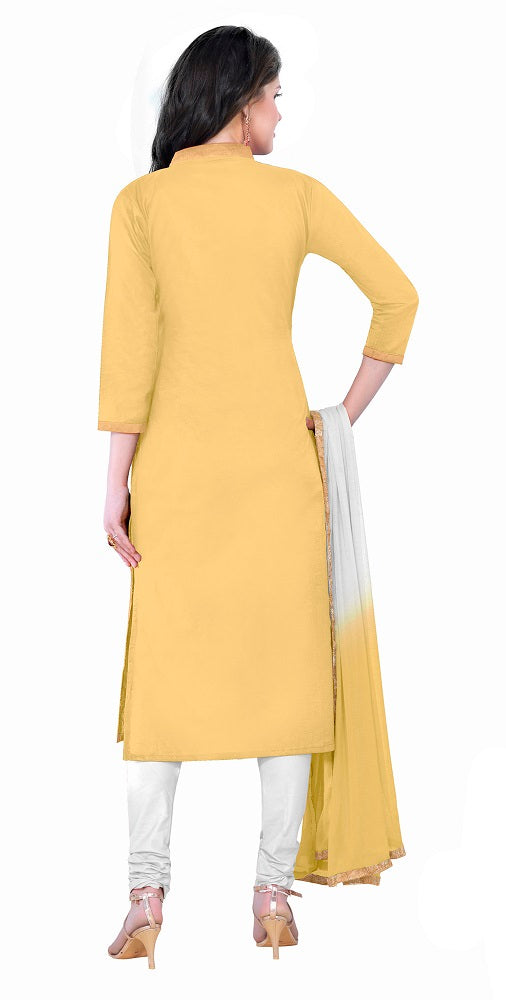 Yellow Cotton Embroidered Party Wear Salwar Suit