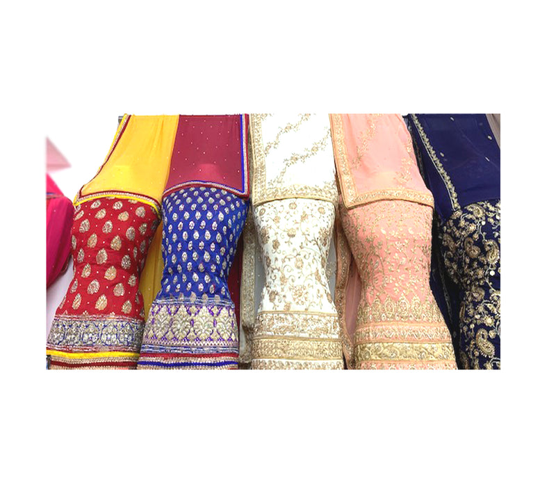 Beautiful Crepe Embroidered Suits & Dupatta with Plain Bottom