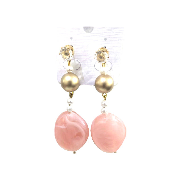 Beautiful Stylish Pearl Earrings with Crystal Studs