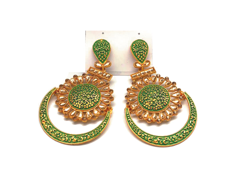 Dangler Earrings Metallic Green & Gold