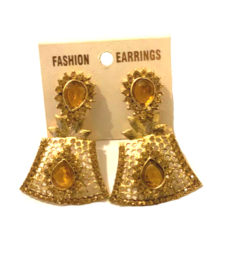 Dangles Gold with clear Rhinestones