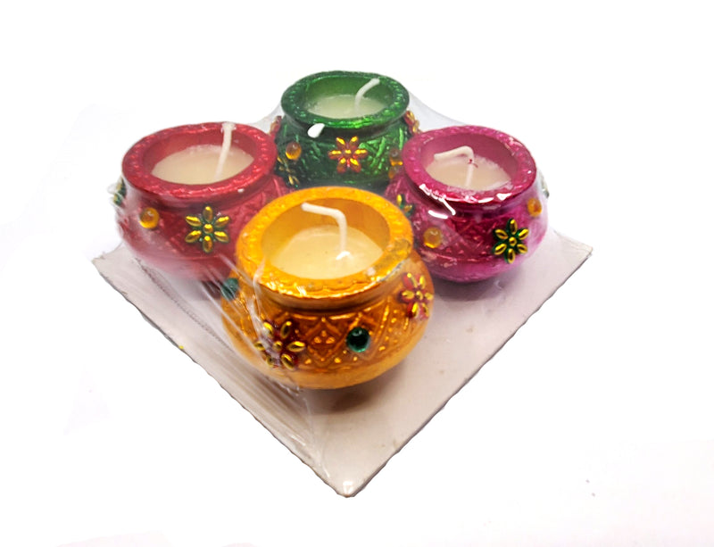Handmade Traditional Terracotta Clay Matki Diya (Set of 4)