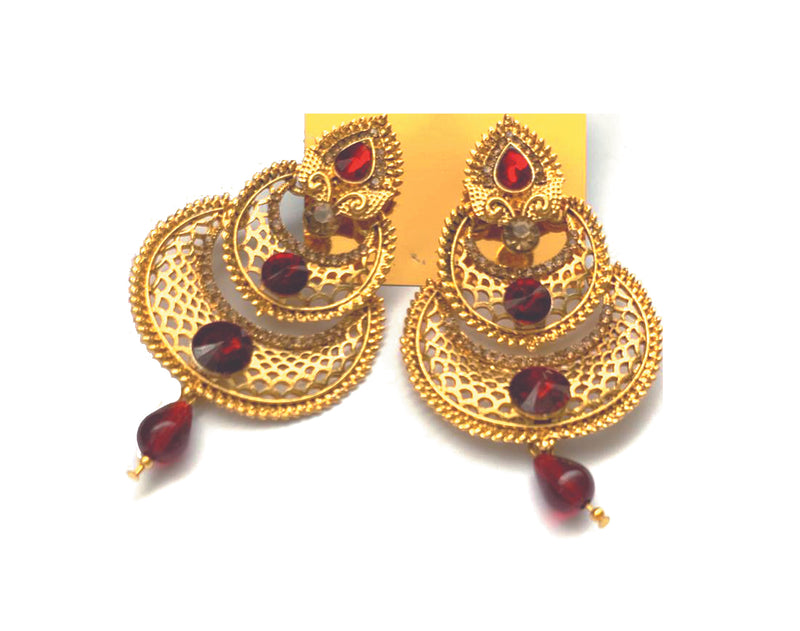 Earrings Metallic Gold with Red Charm