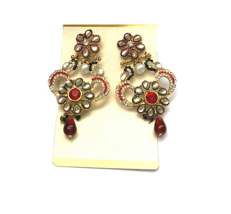 Earrings: Metallic Gold with multicolor Rhinestones