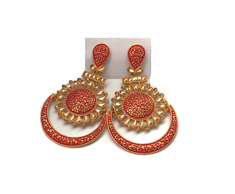 Earrings: Metallic Orange and Gold