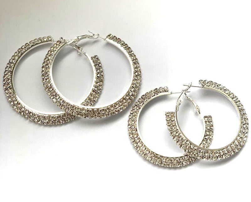 Earrings Silver with clear Rhinestones