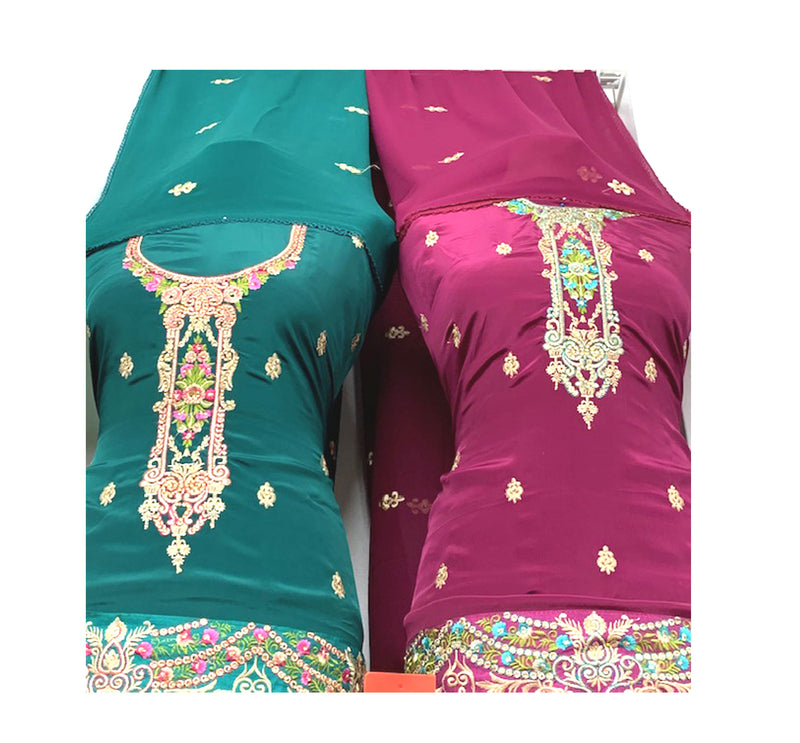 Embroidered Shirt, Unique Necklace style Neck work & Border, with Stylish Dupatta