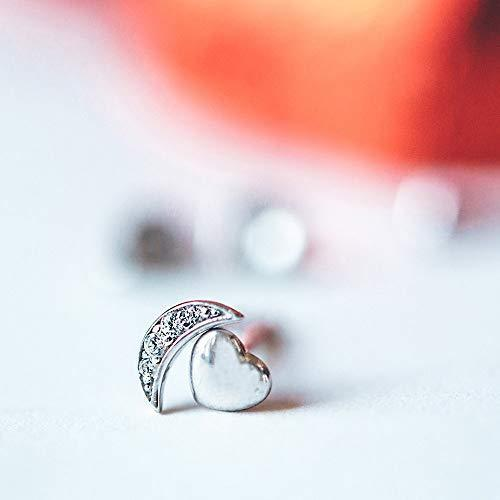 6mm Pave Cresent Stud Earring with Swarovski