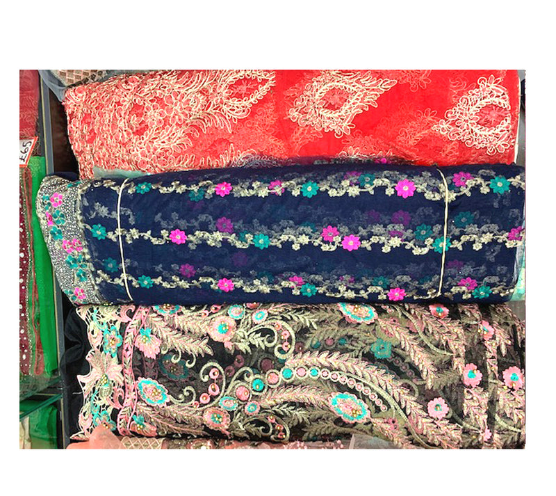 Heavily Embroidered Net in various colors & designs, not to be missed