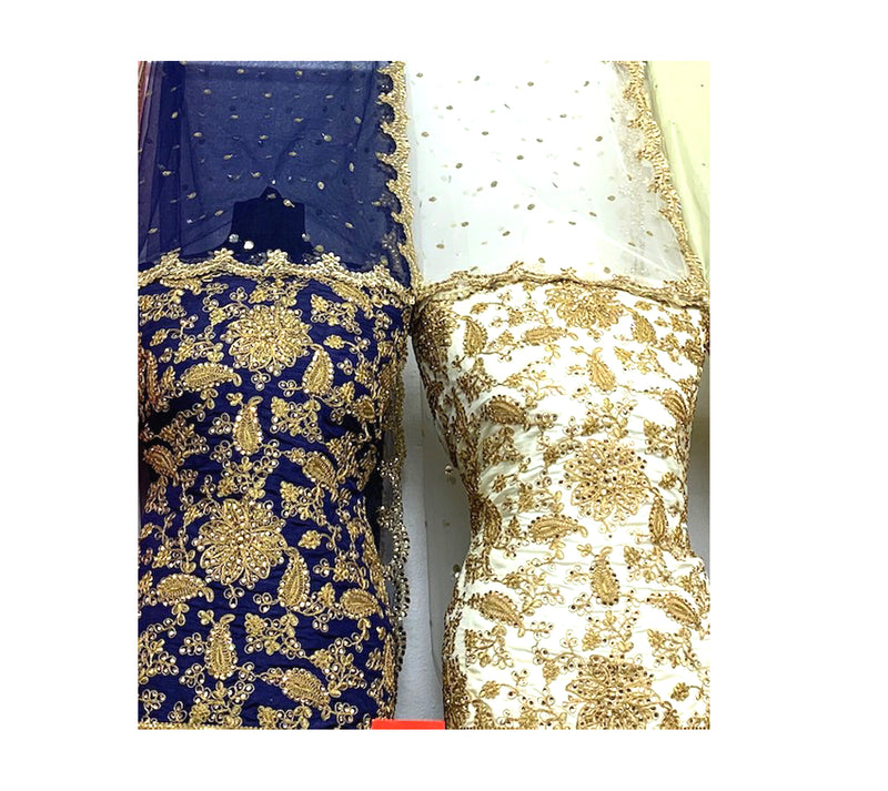 Heavily Embroidered Shirt, Heavy pearl laced border, with stylish Dupatta