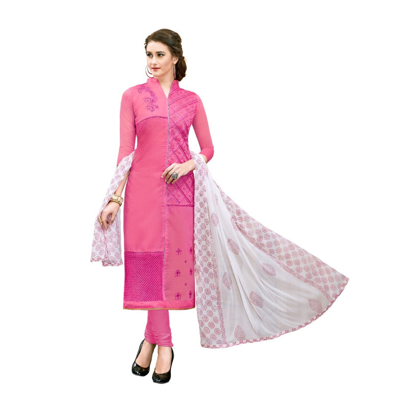 Chanderi Cotton Fabric Light Pink Color Dress