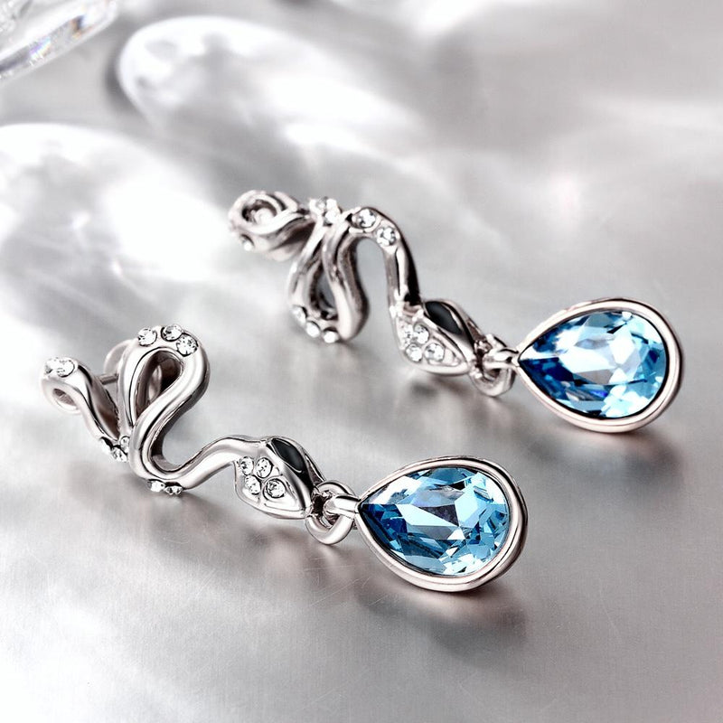 Blue Topaz Drop in 18K White Gold Plated