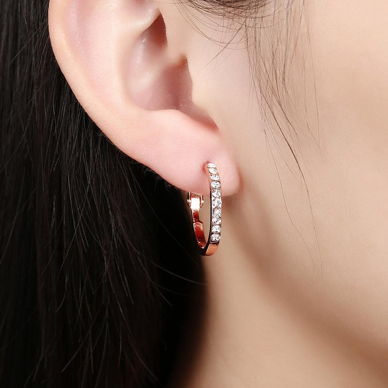 Outiside Stoned Hoop Earring in 18K Gold Plated
