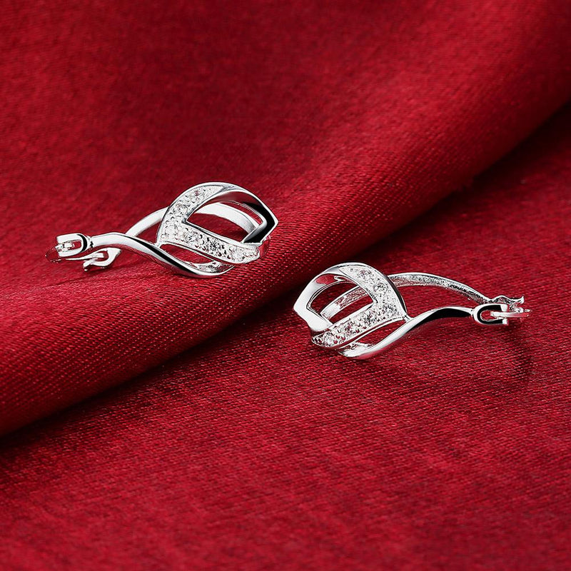 Trible  French Lock Hoop Earring in 18K White Gold Plated