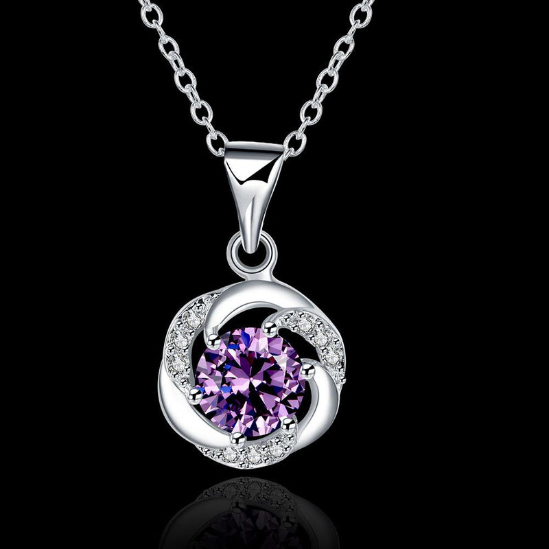 Amethyst Necklace in 18K White Gold Plated with Swarovski Crystals
