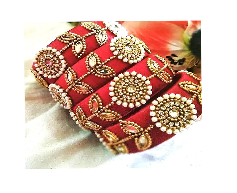 Lovely Gift For Bridal Set Silk thread bangles
