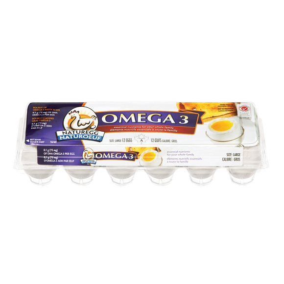Omega 3: White Eggs, Large (12 Eggs)