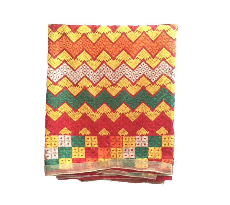 Beautiful Phulkari Designs Chinon Embroidered Dupatta: Traditional Wear