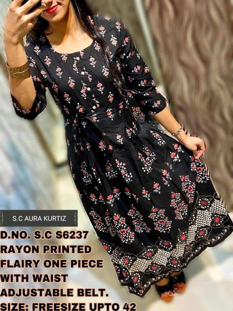 Rayon Printed Flairy One Piece Kurti