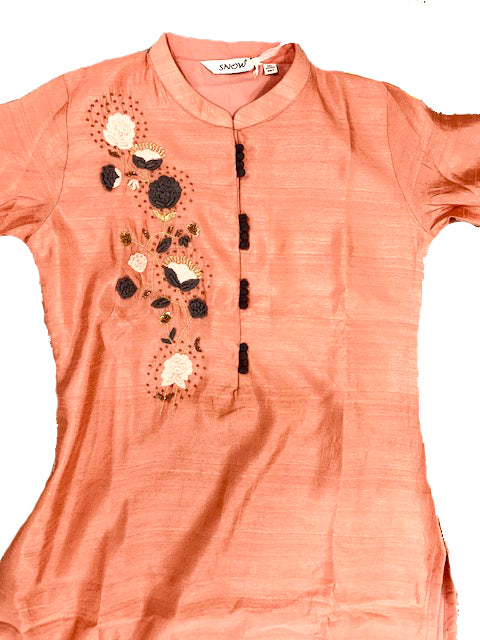 Cotton Casual Kurti with Embroidered work, Plain Bottom