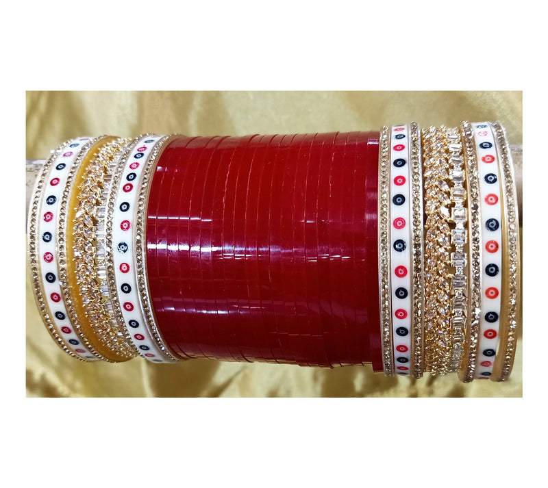 Red Polki Solitaire Bridal Chura