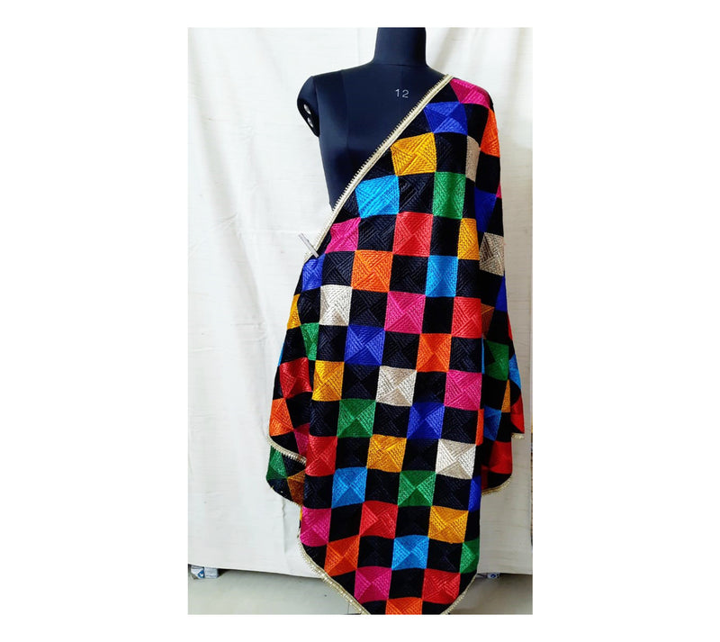 Chinon Embroidered Phulkari Dupatta: Traditional Wear