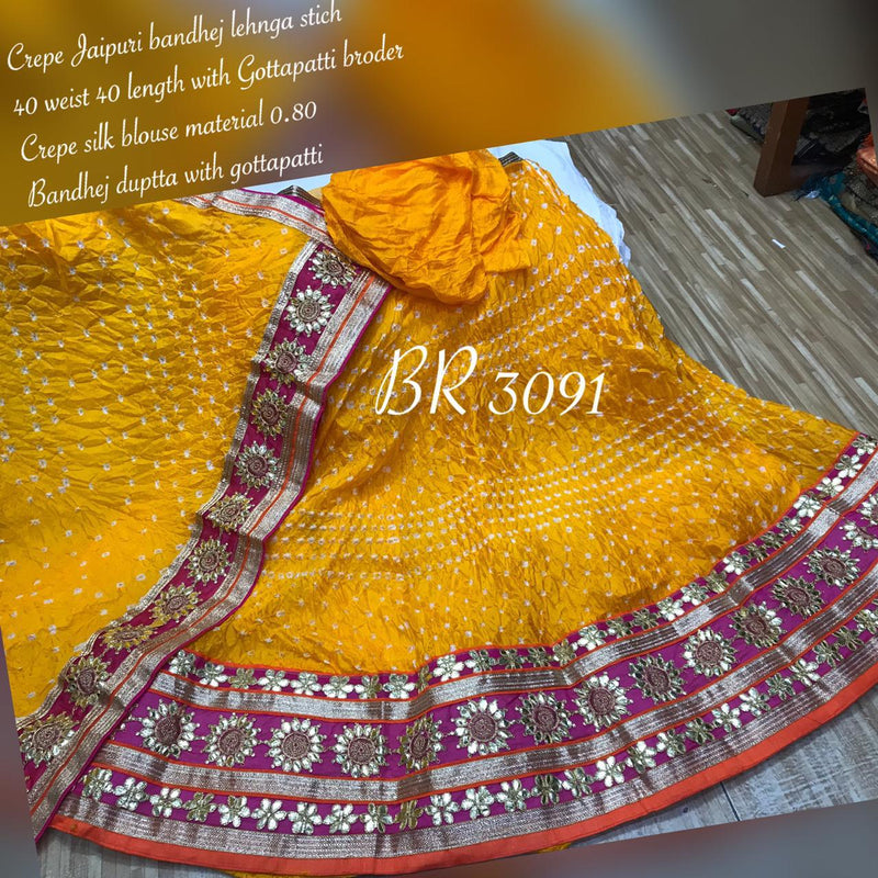 Silk Bandhej Lehenga for Diwali