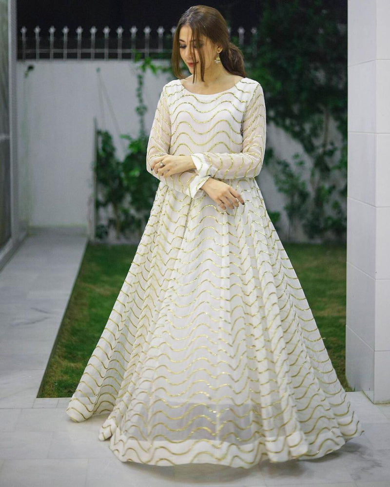 WHITE GOWN CUM SALWAR SUIT BEAUTIFUL EMBROIDERY SEQUENCE WORK