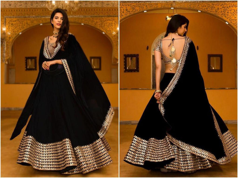 Embroided Georgette Silk Lehenga