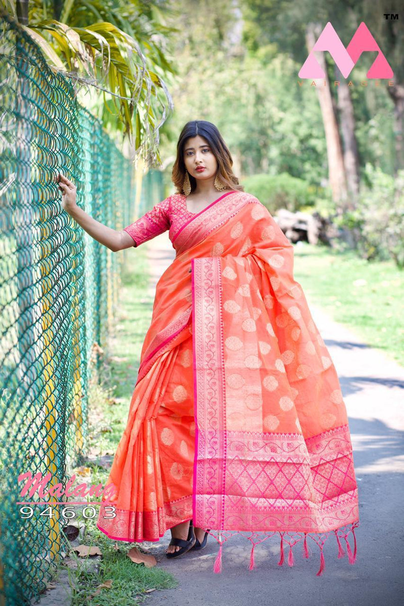 Heavy Cotton Silk Saree With Heavy Jacquard Weaving