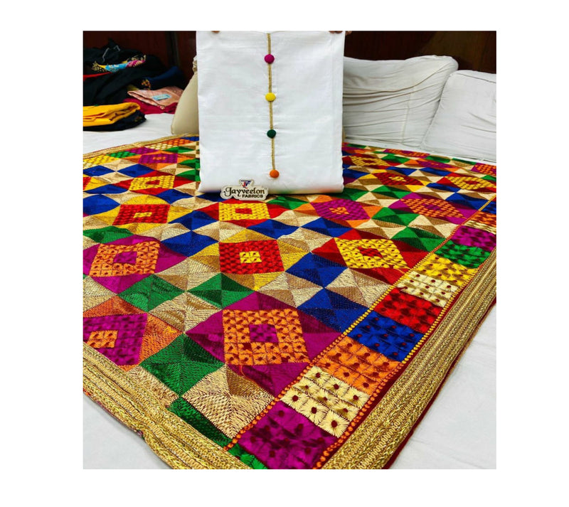 Trendy & Traditional cotton Suit material with Heavy phulkari work Dupatta