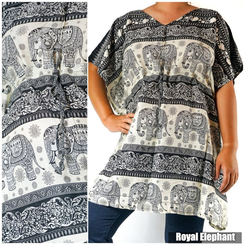 Boho Elephant Kaftan Shirt Short Dress