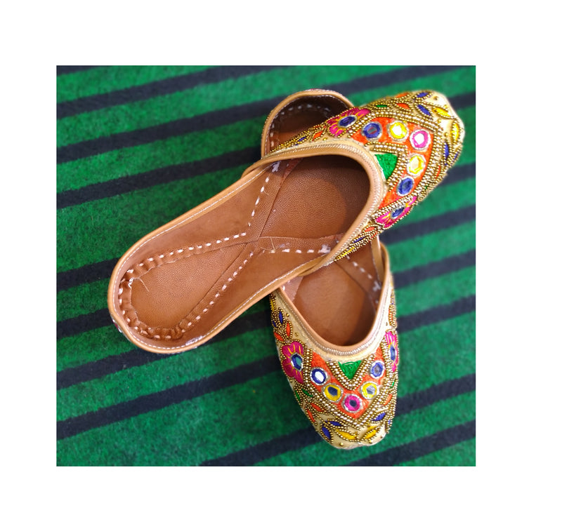 Punjabi Jutti Embroidered with Multicolor Mirrorwork