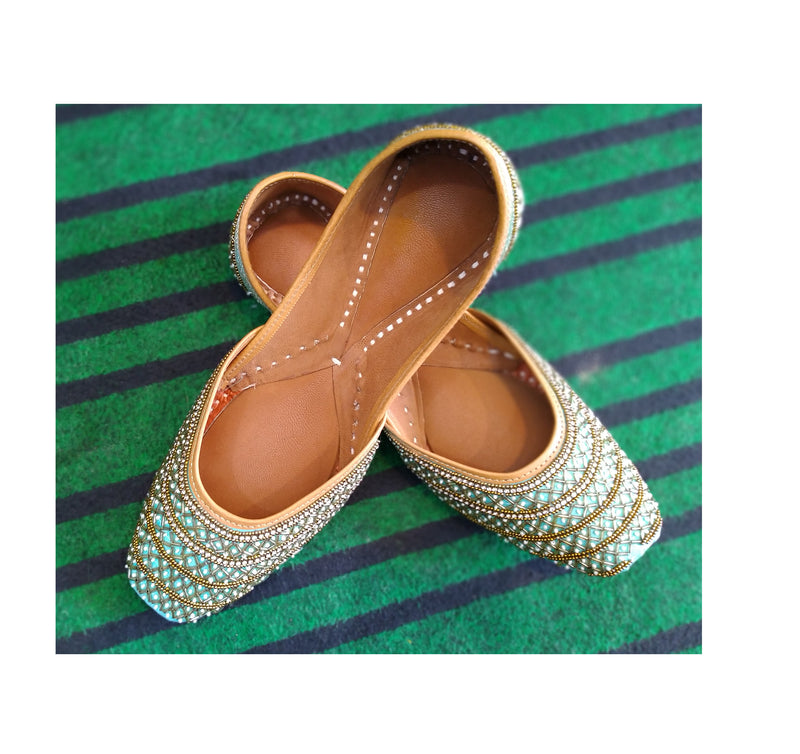 Punjabi Jutti Sea Green with Motiwork