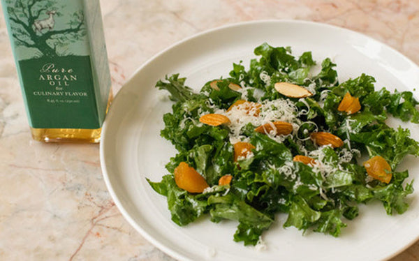 Kale Salad with Apricots, Almonds, and Argan Vinaigrette