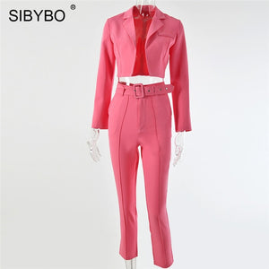 SIBYBO Autumn High Waist Casual Women Blazer Top and Pants Set Long Sleeve Sashes Sexy Two Piece Set Solid Pockets Women Set