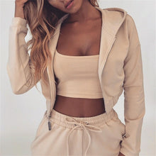 Load image into Gallery viewer, Women Autumn Sporting 2 Piece Sets Clothes Sportwear Short Hooded Zip Jackets Top + Solid Apricot Jogger Cargo Pants Tracksuits