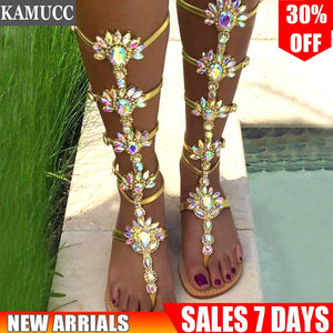 Woman Sandal Boots Rhinestone Lady Knee High Boots Thin High Heels Stiletto Crystal Dress Summer Shoes Sandalias Bohemia Style