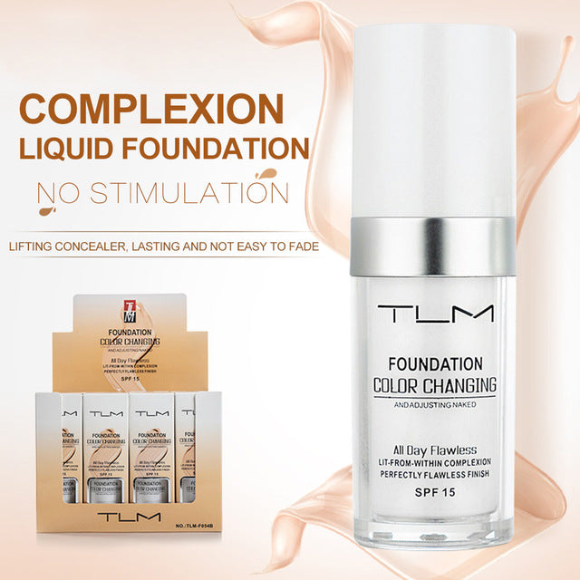 TLM 30ml Temperature Change Complexion Liquid Foundation Cream Concealer Hydrating Makeup Coverage Base Cosmetics Primer TSLM1