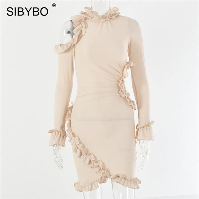 SIBYBO Ruffles Hollow Out Ribbed Sexy Dress Fashion Long Sleeve Mini Autumn Women Dress Solid Club Bodycon Party Dress